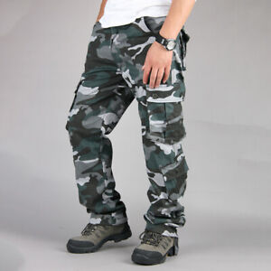 UK Mens Military Combat Trousers Camo Army Camouflage Work  Casual Cargo Pants