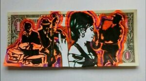 Original Dollar Art. Acrylic Painting street graffiti money cash  amy Winehouse