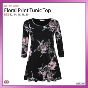 Ladies-Print-Floral-Flared-Tunic-Top-3-4-Sleeves-Casual-Work-Plus-Size-12-20