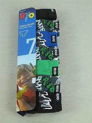 Rio Boys 7 Pack Soft Breathable Cotton Briefs Underwear sz 10 12 Multi Colour