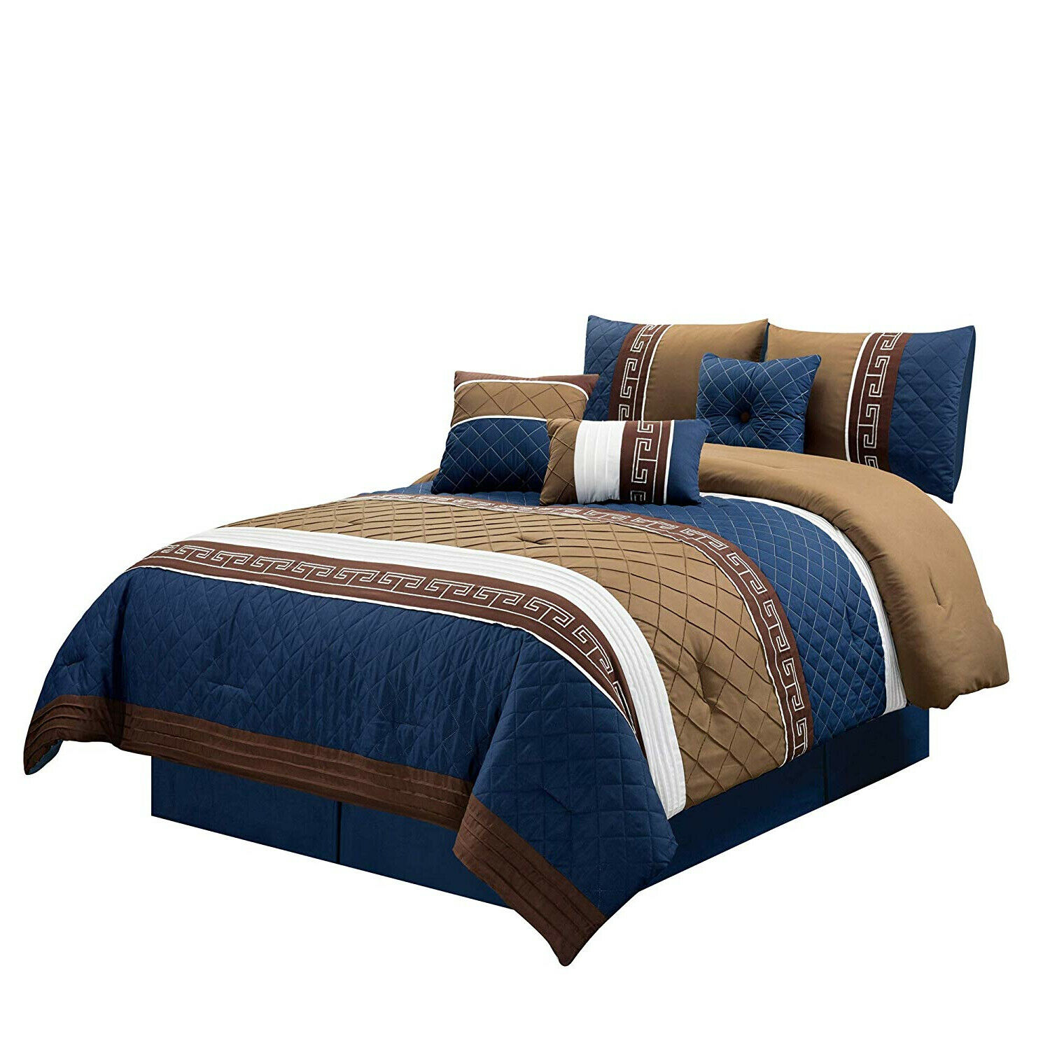 Embroiderot Navy Blau Burgundy Quilted 7 pcs Cal King Queen Comforter Set New
