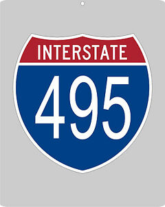 I-495 metal Interstate highway sign - D.C. Beltway, Boston, New York & Long Is.