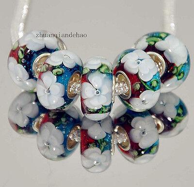 5pcs Silver MURANO GLASS BEAD LAMPWORK fit European Charm Bracelet a765