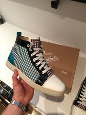 Men's Christian Louboutin White Blue Sneakers Size EU 40 UK 6 Boxed Orlato