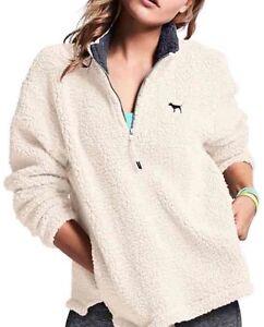 Large! Victoria's Secret Pink Sherpa Boyfriend Quarter Zip White ...