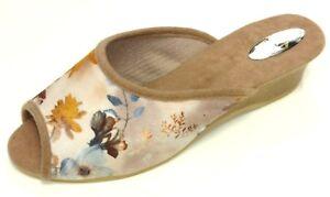 Helmut-Trunte-Damen-Schuhe-Hausschuhe-Pantoffeln-Pantolette-15210-beige