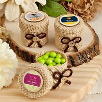 60 Personalized Burlap Favor Boxes Wedding Shower Party Gift Favors on sale