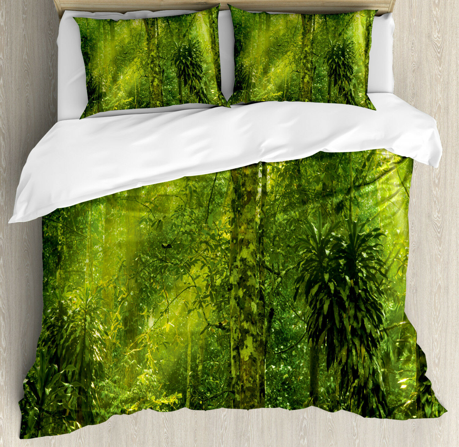 Plant Duvet Cover Set with Pillow Shams Tranquil Exotic Place Print