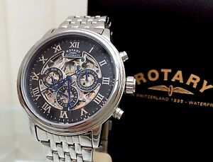 Rotary-Men-039-s-Automatic-Watch-Clear-Back-Skeleton-Day-amp-Date-RRP-260-S-Steel-r54
