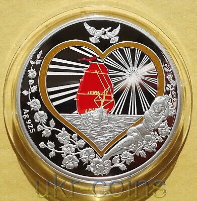 Niue 2014 2$ Love is Precious White Swans 1 Oz Silver Proof Coin