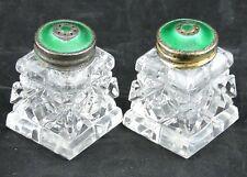 Norway Vintage Sterling Silver Green Guilloche Crystal Salt Pepper Shaker Pair