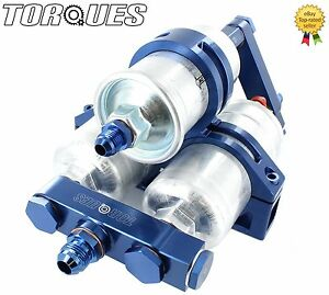 Twin-Bosch-044-Fuel-Pumps-And-Bosch-Filter-Manifold-Cradle-Billet-Assembly