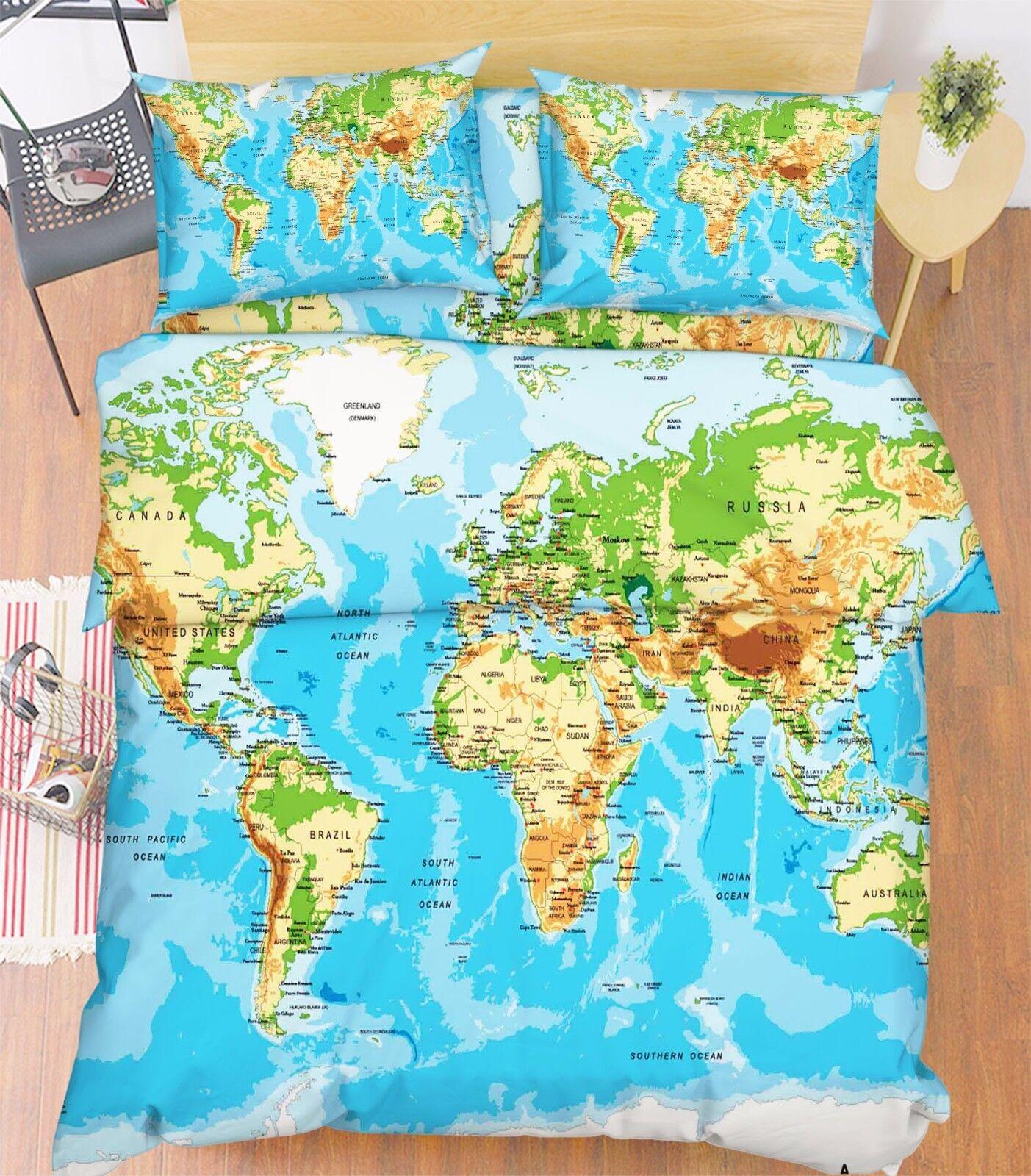3D Mondo Mappa 201 Letto Federe Trapunta Piumone Copertina Impostato Singolo IT