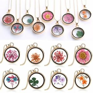 Natural-Clover-Dried-Flower-Gold-Glass-Round-Locket-Pendant-Necklace-Mom-Jewelry