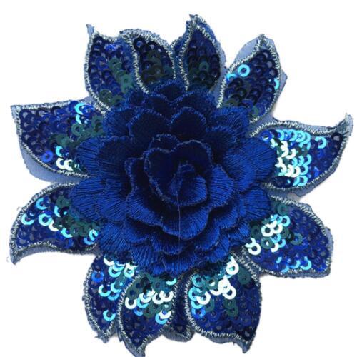 3D Flower Embroidery Bridal Lace Applique DIY Wedding Dress Colorful Sequins