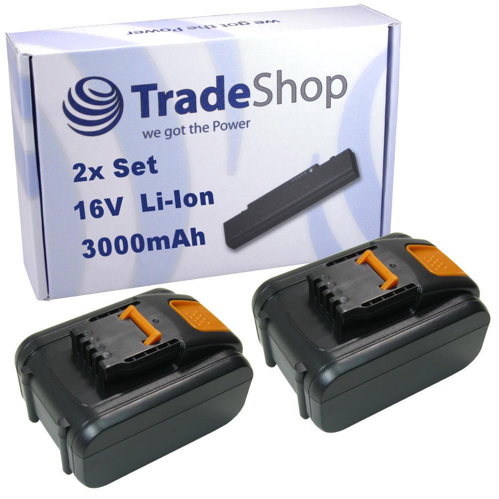 2x Hochleistungs AKKU 16V LiIon 3000mAh ersetzt Worx WA3527 WA3539 Power Battery