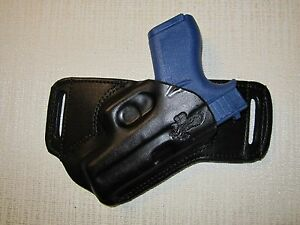 GLOCK 42, FORMED LEATHER,SOB, OWB BELT HOLSTER, RIGHT HAND