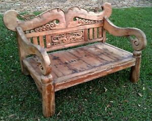 Image Is Loading Bali Hand Carved Antique Solid Wood Bench Couch