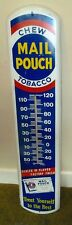 Vintage Large 38 x 8 Inch Chew Mail Pouch Tobacco Thermometer Metal Sign