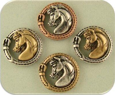 2 Hole Beads Arabian Horse Head 3T Metal~Tack Equestrienne Western Cowboy QTY 4