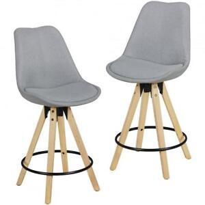 wohnling 2er set barhocker lima grau retro design stoff. Black Bedroom Furniture Sets. Home Design Ideas