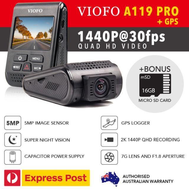 Viofo A119 PRO 2K 5MP GPS Car Dash Camera DVR Capacitor 16GB MicroSD Bonus AU