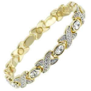 Femmes-Bracelet-Magnetique-Faux-Cristaux-Aimants-Transparent-Sante-Pretty