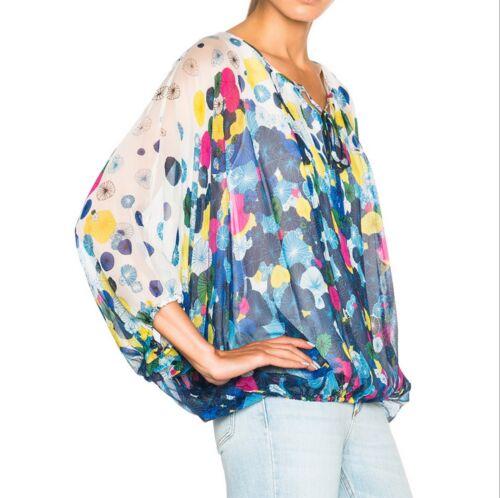 NWT Diane von Furstenberg DVF Emelia Print Silk Blouse Top Small