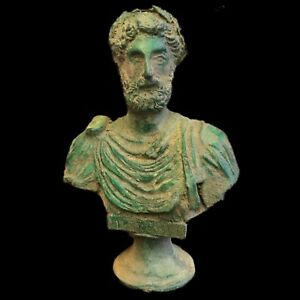 Very-Rare-HUGE-Ancient-Roman-Bronze-Male-Bust-ON-STAND-200-400-AD-NO-RESERVE