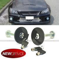 Fit Hhr Car Racing Mount Latch Hood Pin Locking Kit Key Real Carbon Fiber