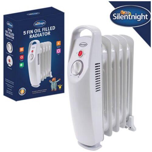 Silentnight 500 W 5 Fin Mini Bain d/'Huile Électrique Portable Radiateur chauffage-Blanc