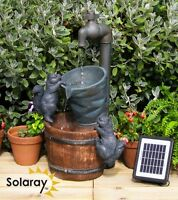 Solar Tap & Squirrels Water Fountain Yard Feature Garden Outdoor Decoration New
