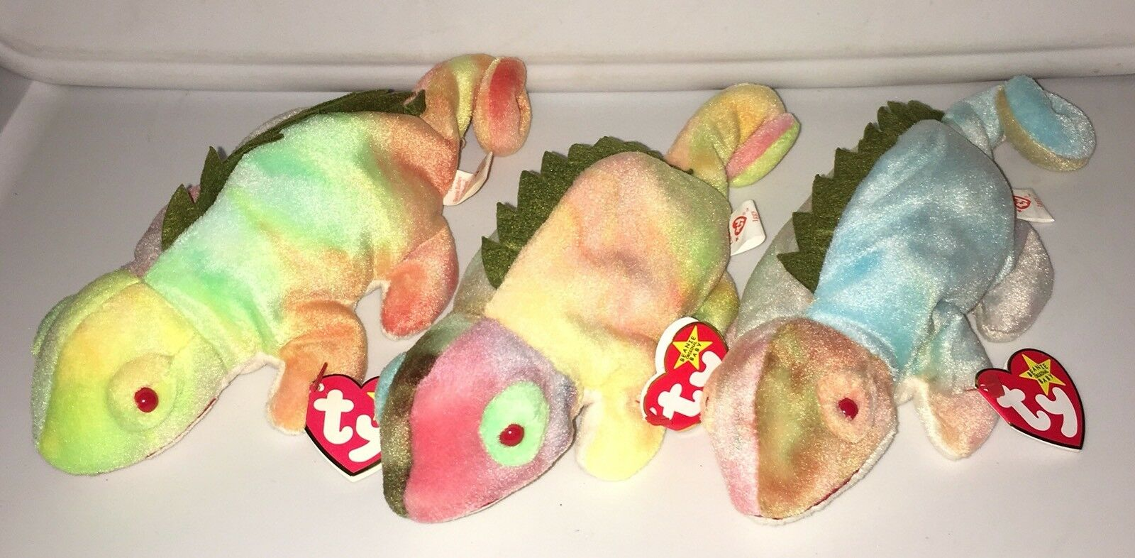 3 RARE RARE RARE AUTHENTIC TY BEANIE BABY IGGY THE IGUANA WITH TAG ERRORS 828367