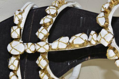 Sandali Nuovo Nero Spesso 41 Oscar Bianco Scarpe De Decorato La Oro Tacco Renta BO6Bq