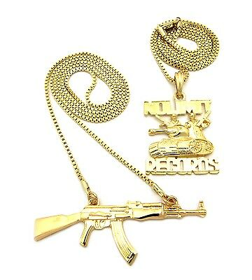 """NEW ICED OUT NO LIMIT RECORDS PENDANT /&2mm//24/"""" BOX CHAIN NECKLACE XZ118BX"""
