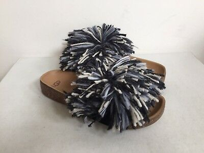 86b42e7260f UGG CINDI YARN FRINGE FLUFFY BLACK /WHITE SLIDE SLIPPERS US 12 / EU 43 / UK  10.5 | eBay