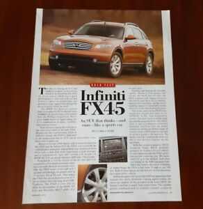 INFINITI FX 45 MAGAZINE ARTICLE CAR AND DRIVER ROAD TEST SUV LIKE A SPORTS CAR