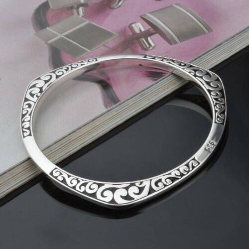 Vintage 925 Sterling Solid Silver Bangle Bracelets For Men//Women Jewelry Gift