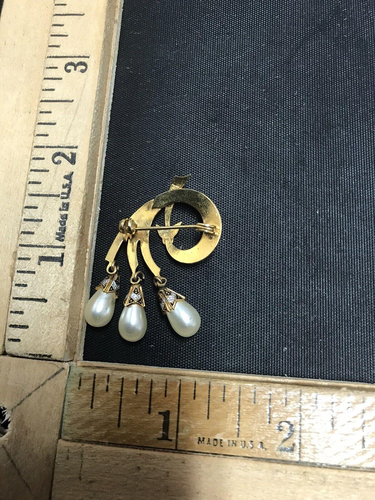 Vintage Damascene Dangle Pearl Brooch Made in Sp… - image 2
