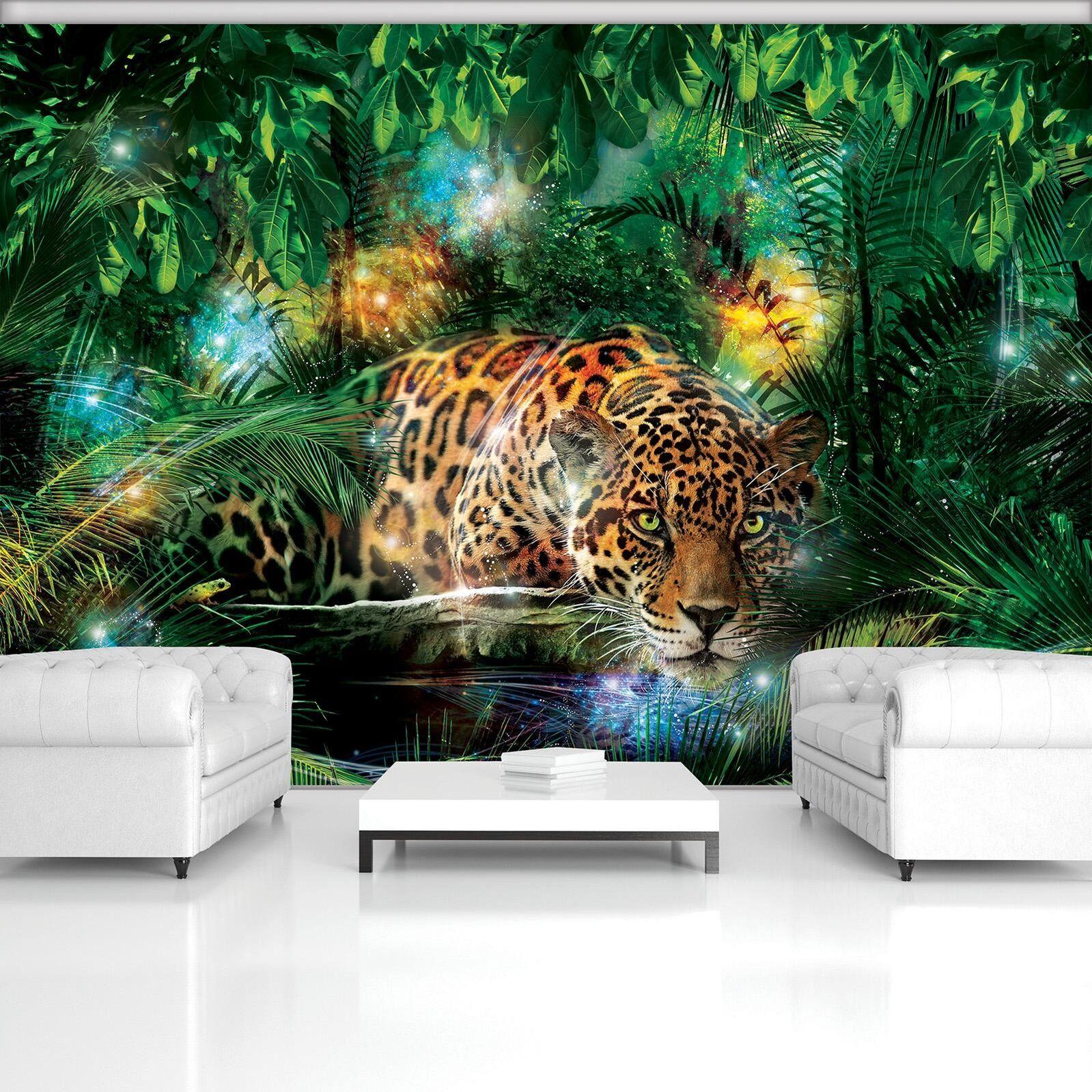 Vließ Fototapete Tapete Wandbild Jaguar im bunten Dschungel 320288_VEMVT