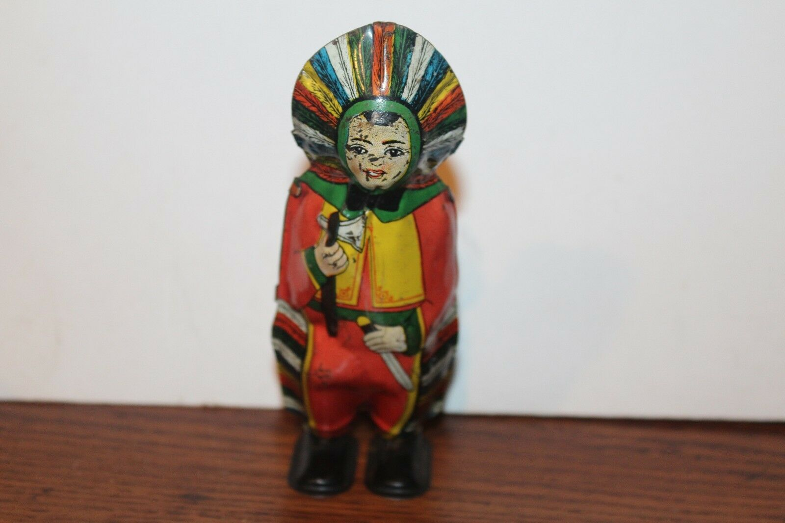 NICE VINTAGE TIN LITHO J. CHEIN WIND UP INDIAN PRINCESS  WORKS