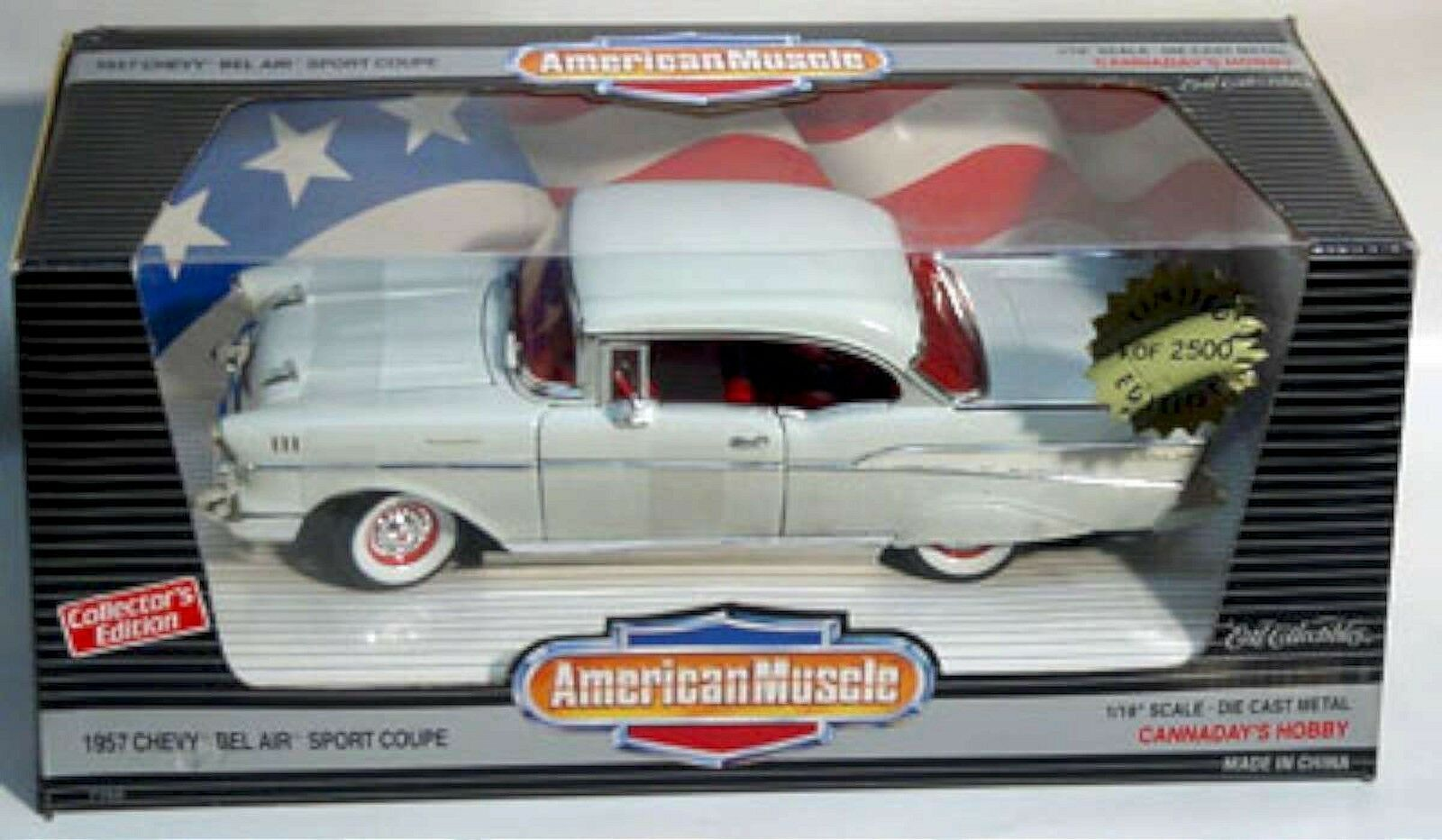 ERTL 1/18 1957 Chevy Bel-Air Sport Coupe bianca  Hardtop 7768 American Muscle '57