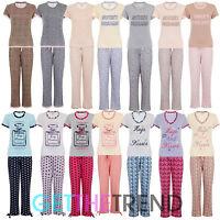 Ladies Womens Printed Cotton T-Shirt Lounge Pyjama Set Bottoms Nightwear