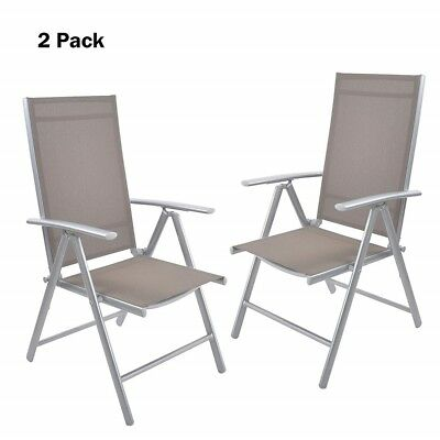 Surprising 2Pc High Back Beach Chair 7 Position Adjustable Folding Reclining Aluminum Chair 738598239778 Ebay Home Remodeling Inspirations Basidirectenergyitoicom