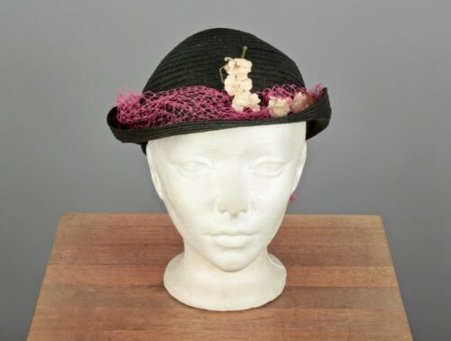 VTG Women's 30s 40s Black Straw Hat w Pink Netting