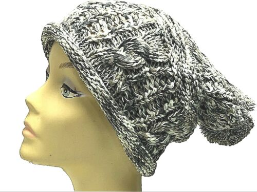 Slouch Hiver Baggy Beanie Hat Long Ski Pompon Ski Tricot Tricoté Pour Femme Filles