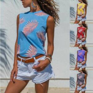 Women-039-s-Leaf-Print-Summer-Sleeveless-Vest-T-Shirt-Casual-Tank-Top-Shirt-Blouse-A