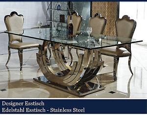 designer esstische edelstahl esszimmer tische glastische glas hochglanz 200er ebay. Black Bedroom Furniture Sets. Home Design Ideas