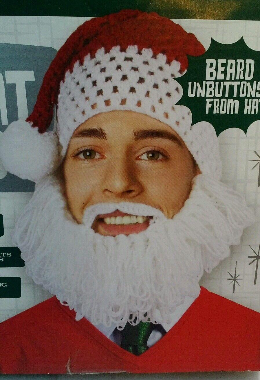 e06eb0552dc Santa Hat   Beard Knitted Holly Jolly Wembley Christmas Holiday for ...