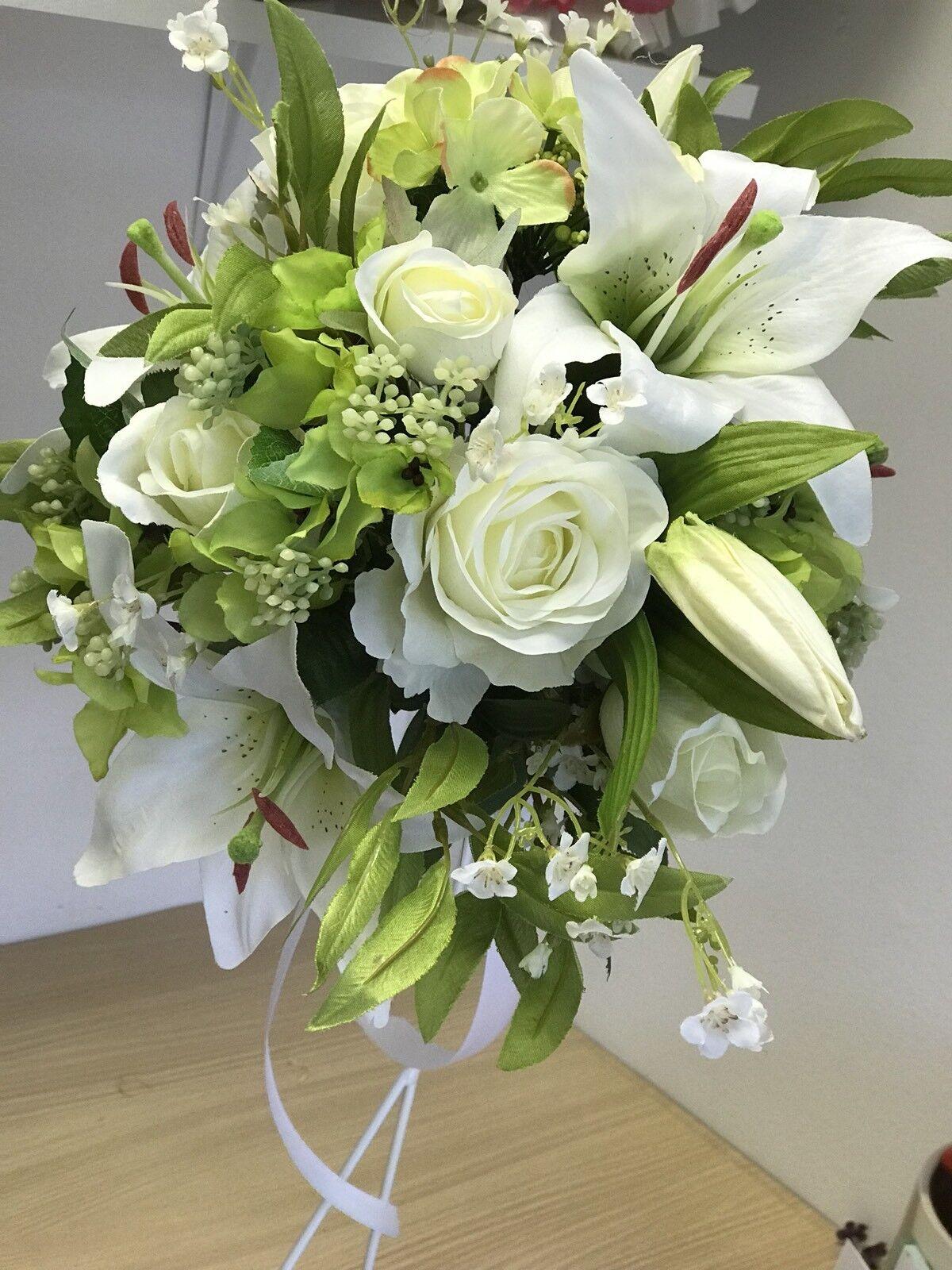 Artificiel wedding bouquet, mariée, mariage, en soie, rose, Lily, Hydrangea Display